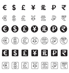 Stylized icons of various currencies vector image