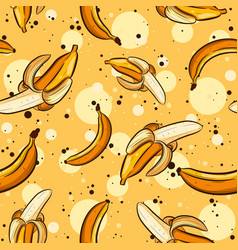 summer seamless pattern with bananas and peels vector image
