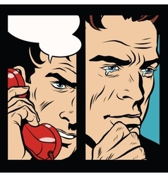 Tears and pain men who spoke by phone vector image