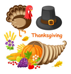 thanksgiving day poster with items set vector image