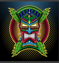 Tiki mask esport mascot logo vector
