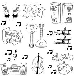 Tool music set doodles art vector