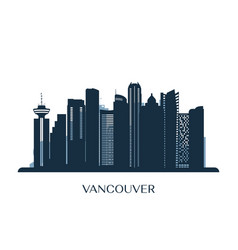 Vancouver skyline monochrome silhouette vector