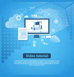video tutorial template web banner with copy space vector image