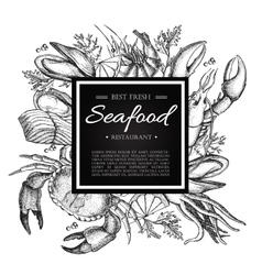 Vintage seafood restaurant vector