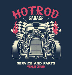 Vintage shirt design hotrod custom car vector