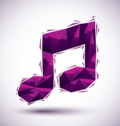 Violet musical note geometric icon made in 3d vector