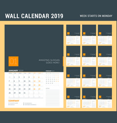 Wall calendar planner template for 2019 year set vector