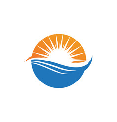wave beach and sun logo and symbols vector image