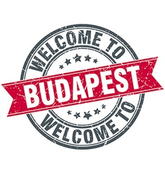 welcome to Budapest red round vintage stamp vector image vector image