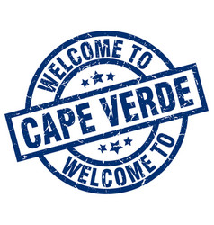 Welcome to cape verde blue stamp vector