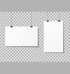 white paper posters hanging on binder clips vector image