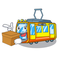 With box electric train isolated with cartoon vector