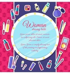 Women makeup cosmetics elements on pink background vector