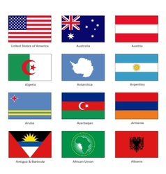 World flags set name country of letter vector