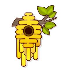 yellow bee hive on a white background bee hive vector image