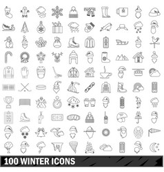 100 winter icons set outline style vector image