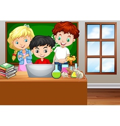 Children looking at computer in classroom vector image