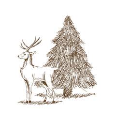 christmas deer and tree engraving style vintage vector image