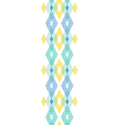 Colorful fabric ikat diamond vertical seamless vector image