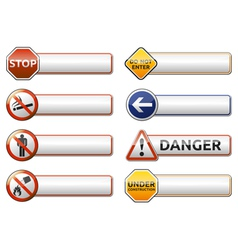 Danger prohibition sign banner collection vector image vector image