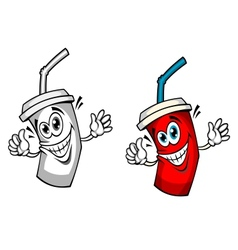 Fresh soda drink with straw vector
