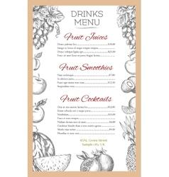 Fruit drinks menu of sketch fruits juice vector image