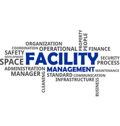 word cloud - facility management vector image vector image