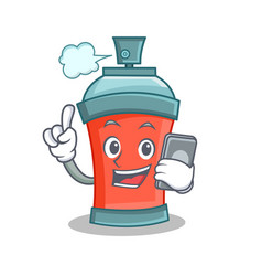 aerosol spray can character cartoon with phone vector image