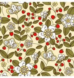 Colorful strawberry floral seamless pattern vector image vector image