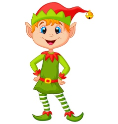 Cute and happy looking christmas elf cartoon vector image vector image