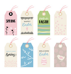 cute hand drawn easter set of gift tags and labels vector image