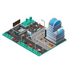 futuristic cityscape isometric composition vector image