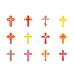 set of christian cross icon vector image vector image