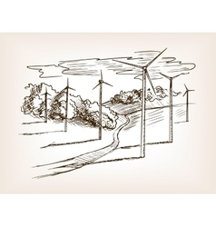 Wind power plant sketch vector image