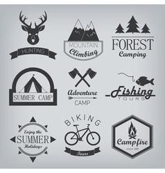 Camping and hunting logos vector image