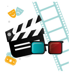 Cinema clapper 3d glasses tickets and filmstrip vector
