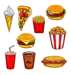 fast food sketch set with burger drink dessert vector image vector image