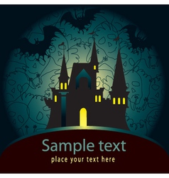 Halloween palace card vector image