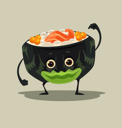 happy smiling sushi roll character mascot vector image