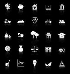 Sufficient economy icons with reflect on black vector image vector image