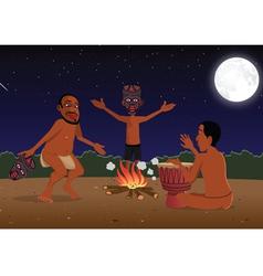 African masked tribal dancers vector image vector image
