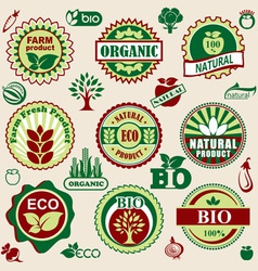 healthy natural label vector image vector image