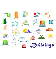 Office and apartments buildings icons vector image