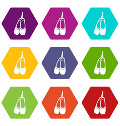 pointe shoes icon set color hexahedron vector image