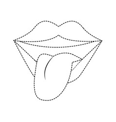 Tongue out pop art vector