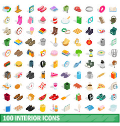 100 interior icons set isometric 3d style vector