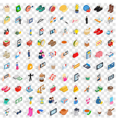 100 lady icons set isometric 3d style vector