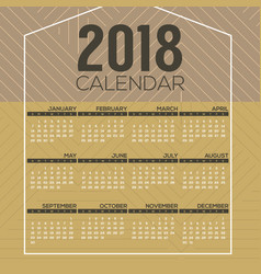 2018 printable calendar starts sunday vector