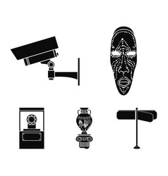 African mask video surveillance vase diamond vector